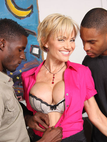 Blonde milf Cameron V with sticking tits gets pounded by two sexy black guys