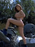 Giant  titted military babe Veronica Zemanova does exercises in the open air