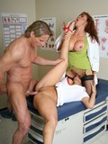 Sexy doctor Ava Devine and her horny nurse have a threesome fuck with a patient
